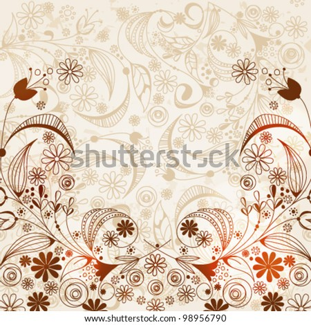 Vector illustration of hand drawn style beautiful vintage floral retro grunge background - stock vector