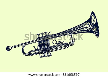 vector illustration of hand drawn trumpet beautiful ink drawing of a wind musical instrument