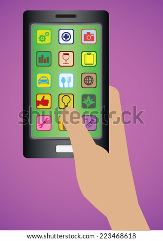 Vector illustration of hand holding a black wireless mobile phone with many square apps icons on display. - stock vector