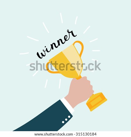Vector illustration of hand holding a trophy winner cup with lettering word Winner on blue background - stock vector