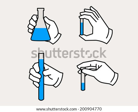 Vector illustration of hand holding flask and test tube icon. Chemical science equipment. - stock vector