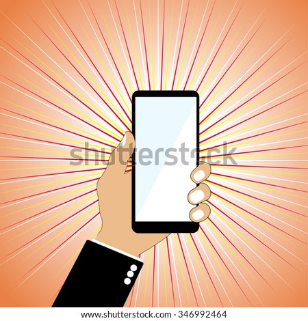 Vector illustration of  hand holding mobile  phone