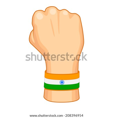 vector illustration of hand painted in Indian flag color - stock vector