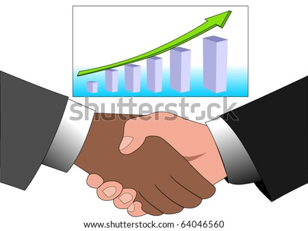 Vector illustration of hand shaking between a white businessman and a black one isolated on white with graph with arrow showing profits and gains - stock vector