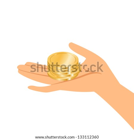 Vector illustration of hands holding gold coins - stock vector