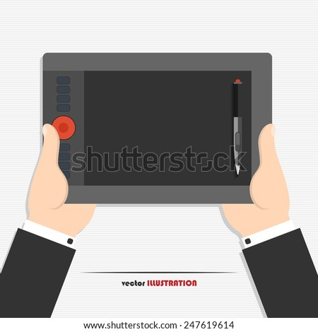 Vector illustration of hands holding graphics tablet for your design - stock vector