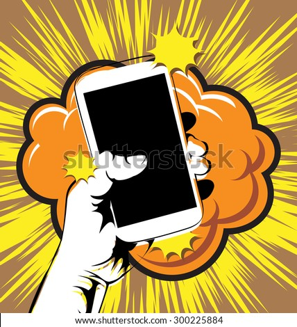 vector illustration of hands holding the phone - stock vector