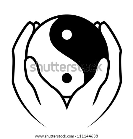 Vector illustration of hands holding yin yang symbol - stock vector