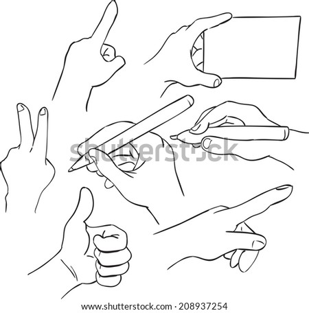 Vector illustration of hands in different positions, doodle style - stock vector