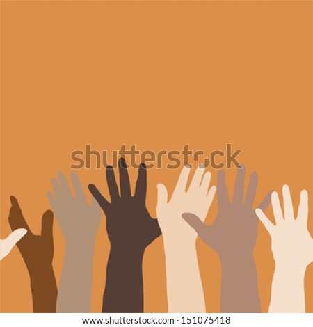 Vector illustration of hands raised up, to express volunteerism, multi-ethnicity, equality, racial and social issues. Colors can be easily changed. Horizontally seamless.  - stock vector