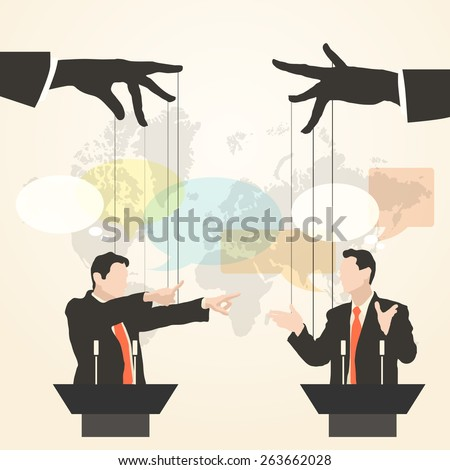 Vector illustration of hands that control the speaker, behind a podium on the world map background, like puppet in a flat style. Debate two speakers. Political speeches, debates, rhetoric, set - stock vector