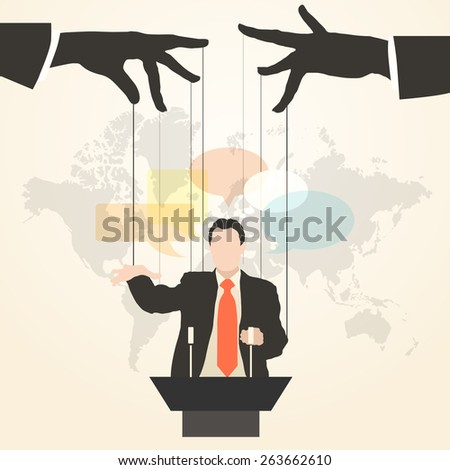 Vector illustration of hands that control the speaker, the speaker behind a podium on the world map background, like a puppet in a flat style. - stock vector