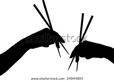 Vector illustration of hands with chopstick - stock vector