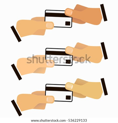 Vector illustration of hands with credit card for your design