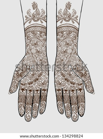 Vector illustration of hands with henna tattoos on them. Concept for Indian bridal salon, services, event planning, partnership, b2b local marketing, diversity, love, wedding, celebration, invitation. - stock vector