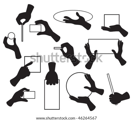 Vector illustration of hands with various objects - stock vector