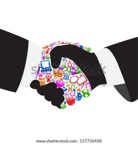 vector illustration of handshake between man and technology - stock vector