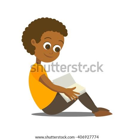 Vector Illustration of Happy a Happy Boy Reading a Book - stock vector