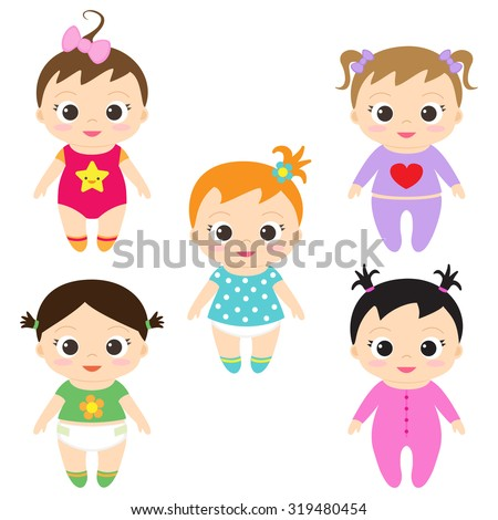 Vector illustration of happy and smiling baby girls - stock vector