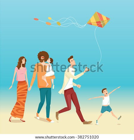 vector illustration of happy big family flying a kite on the beach - stock vector