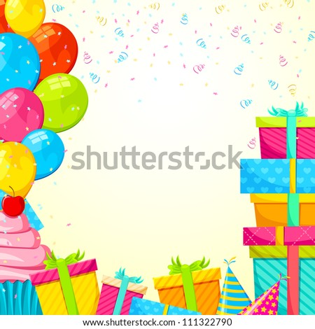 vector illustration of happy birthday background with gifts and balloon - stock vector