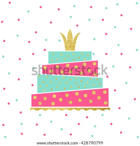 Vector illustration happy birthday card birthday stock vector vector illustration of happy birthday card birthday invitation with party cake and gold crown stopboris Gallery