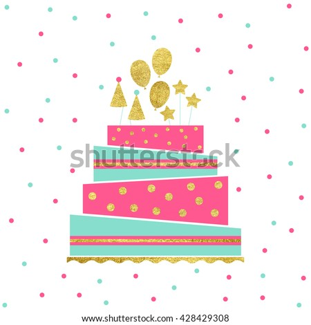 Vector Illustration Happy Birthday Card Birthday Stock Vector