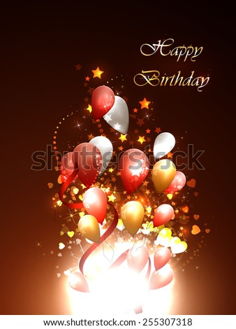 Vector illustration of happy birthday card on a bright background - stock vector