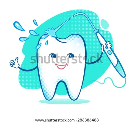 Vector illustration of happy cartoon tooth character with irrigator.