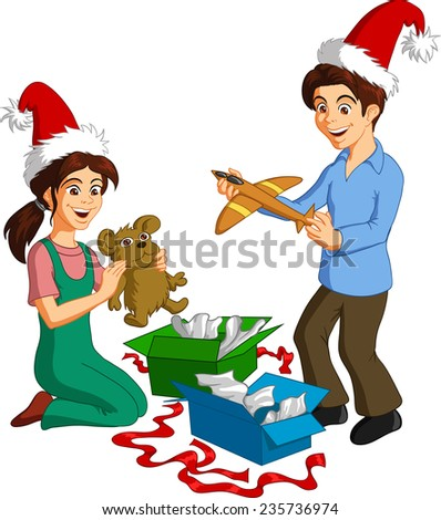 Vector illustration of happy children opening Christmas presents. - stock vector