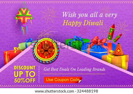 vector illustration of Happy Diwali holiday offer - stock vector