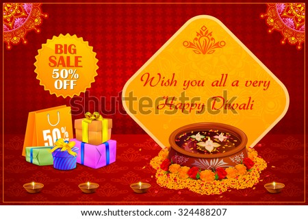 vector illustration of Happy Diwali holiday offer