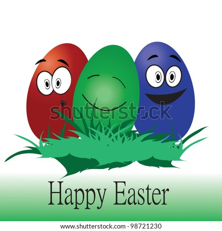 vector illustration of happy easter eggs - stock vector
