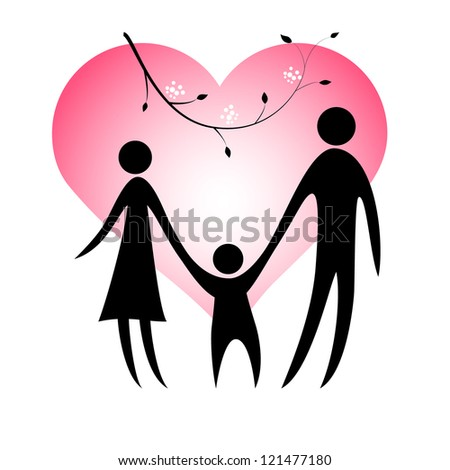Vector illustration of happy family.