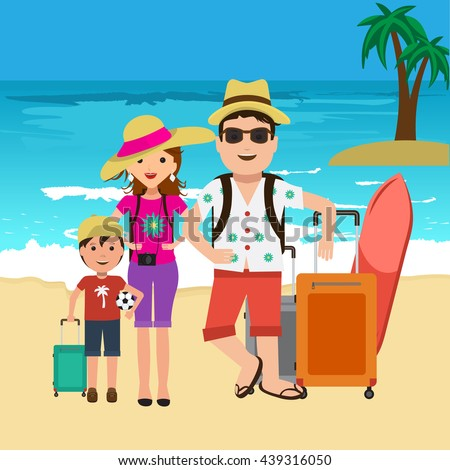 Vector Illustration Of Happy Family Going On Surf Vacation Beach And Palm Trees Travel Bags