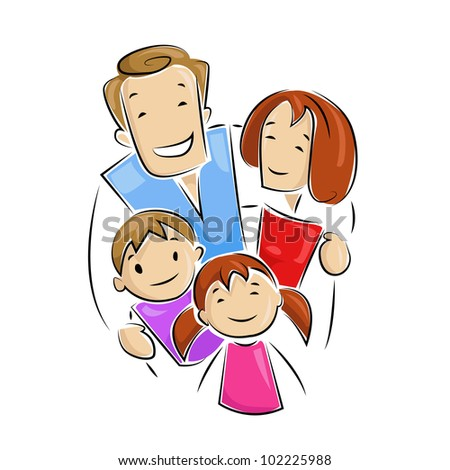 vector illustration of happy family looking up - stock vector