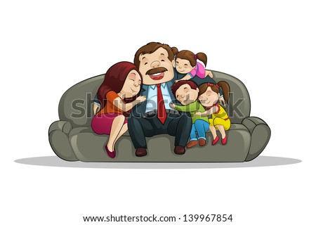 vector illustration of happy family sitting in couch - stock vector