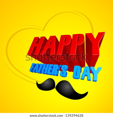 vector illustration of Happy Father's Day background with mustache - stock vector