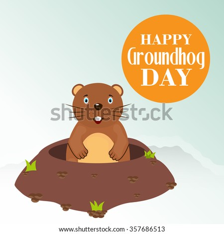 Vector illustration of Happy Groundhog Day Background.