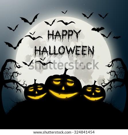 Vector illustration of Happy Halloween. - stock vector