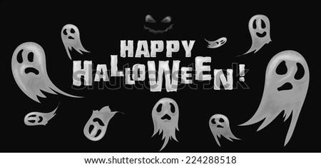 Vector Illustration Of Happy Halloween Background Ghosts - stock vector