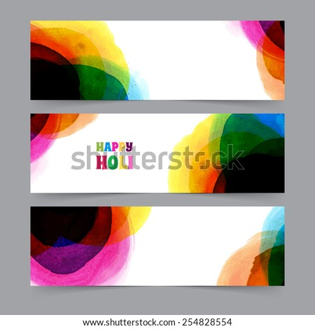 Vector illustration of Happy Holi card template - stock vector