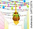 vector illustration of Happy Janmashtami background with hanging dahi handi - stock vector