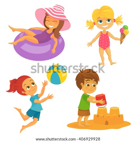 Vector Illustration of Happy Kids at the Beach having fun - stock vector