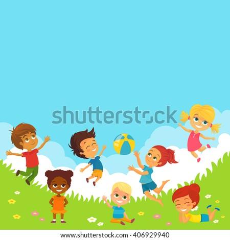 Vector Illustration of Happy Kids Having Fun - stock vector
