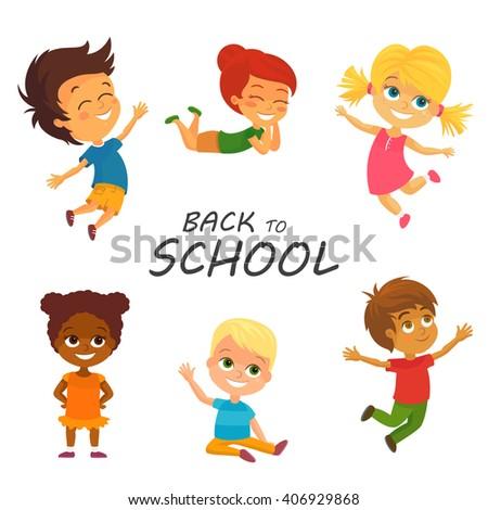 Vector Illustration of Happy Kids having Fun. Back to School - stock vector