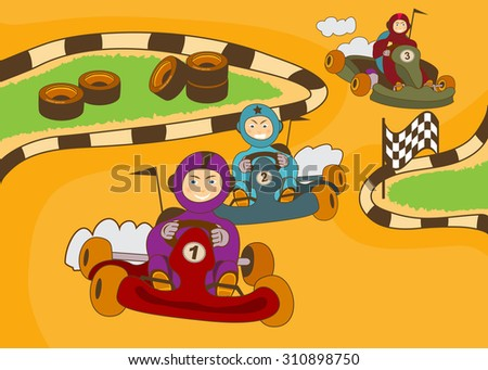 vector illustration of happy kids in a kart racing - stock vector