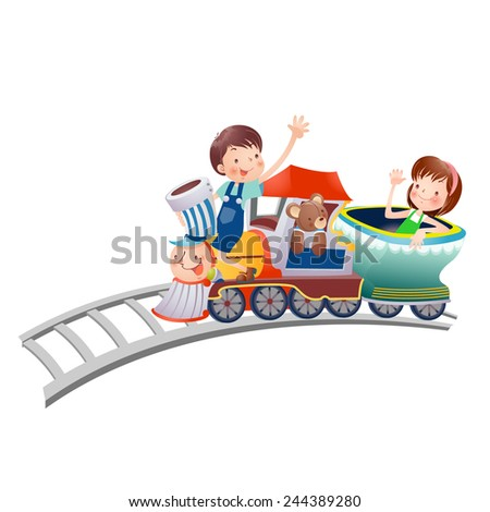 vector illustration of happy kids riding a train   - stock vector
