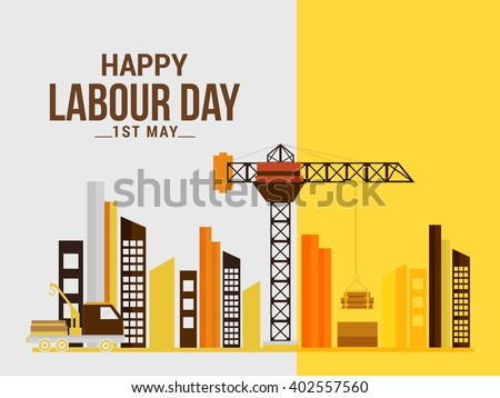 Vector illustration of happy Labour Day background. - stock vector