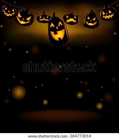 Vector illustration of Happy laughing Halloween lanterns.  - stock vector
